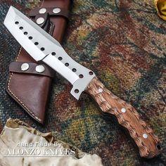 ALONZO KNIVES USA CUSTOM HANDMADE BUSHCRAFT TRACKER 1095 KNIFE PAKKA WOOD 1621 #AlonzoKnives