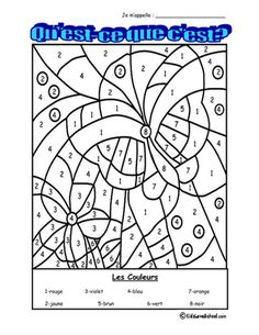 Students must color as indicated to reveal a picture. LOTS of FUN for all grades!Great for FSL Core and Immersion grades Learning French For Kids, Ways Of Learning, Learning Colors, Learning Piano, Coloring Sheets, Coloring Books, Coloring Pages, Free Coloring, Kids Coloring