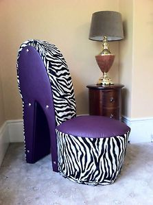 Purple zebra shoe chair too cute Zebra Print Bedroom, Zebra Bedrooms, High Heel Shoe Chair, Purple Table Decorations, Zebra Chair, Zebra Decor, Purple Zebra, Fire Pit Table And Chairs, Adirondack Chairs For Sale
