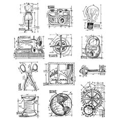 STAMPERS ANONYMOUS-Tim Holtz Collection Cling Rubber Stamps.