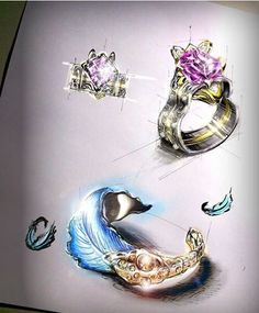 珠宝设计草图 用笔尖勾勒出的灵魂