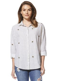 Tesco direct: F&F Bee Embroidered Striped Shirt