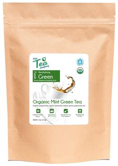 Organic Mint Green Tea - Spearmint and Peppermint Leaves With Pinhead Gunpowder Green Tea - Moroccan Tea Blend by The Tea Company - Loose Leaf - Helps Digestion Gas and Bloating - Iced - Bulk 4oz