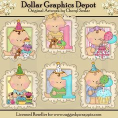 Baby's First Birthday Doodle Frames - Clip Art - $1.00 : Dollar Graphics Depot, Quality Graphics ~ Discount Prices