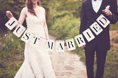 Just Married Banner. $30.00, via Etsy. behind cake table?