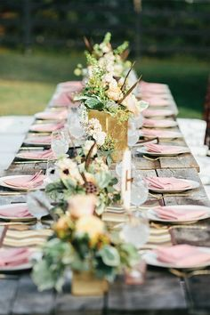 Pink and gold over rustic wood #wedding #tablescape #gold #reception #farmhouse