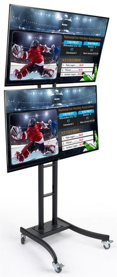SuperSign TV's w/ Content Software & Dual Monitor Floor Stand - Black Digital Signage System, Dual Monitor Stand, Us Companies, Cable Management, Graphic Design Services, Adjustable Shelving, Service Design, Software