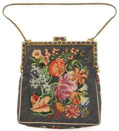 Austria Marcasites Jeweled Frame Petit Point Handbag Purse from mur-sadies on Ruby Lane