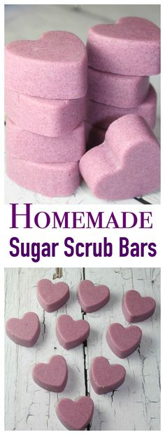 Homemade Sugar Scrub Bars take ONLY minutes to make and great to give as gifts!These Homemade Sugar Scrub Bars take ONLY minutes to make and great to give as gifts! Diy Lush, Diy Spa, Sugar Scrub Homemade, Sugar Scrub Recipe, Homemade Body Scrubs, Simple Sugar Scrub, Homemade Soap Bars, Homemade Deodorant, Homemade Soap Recipes