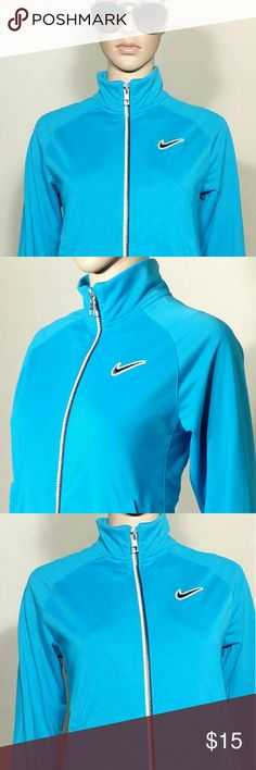 Nike  Womens Blue Full-Zip Track Jacket Size L LARGE - 100% Polyester In Very good condition!! Very adorable!! Fast shipping!! Nike Jackets & Coats