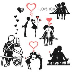 Set of 6 Valentine's Day Free Silhouette Studio Cut Files