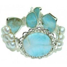 925 SOLID STERLING FINE SILVER BEAUTIFUL DESIGN! AAA BLUE LARIMAR & FRESH WATER PEARL BRACELET