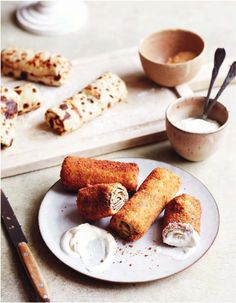 Crepes Are Good—Breaded, Fried Crepes Are Better   Epicurious Recipes Appetizers And Snacks, Brunch Recipes, Crepes, Sour Cream, Pancakes Easy, Vegetable Seasoning, Appetisers, Air Fryer Recipes, Food Menu