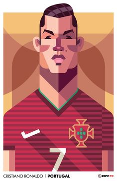 Very cool World Cup player portraits by top-class illustrator Daniel Nyari. Created for ESPN FC (for North and South American markets) they feature . Football Art, Football Players, Cristiano Ronaldo, Fotos Real Madrid, Cr7 Wallpapers, Fly Logo, Joker Art, Picture Logo, Graffiti Lettering