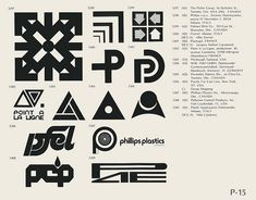P-15  Collection of vintage logos from a mid-70's edition of the book World of Logotypes.