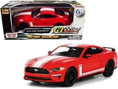 """PRODUCT DESCRIPTION Brand new 1/24 scale diecast car model of 2018 Ford Mustang GT 5.0 Red with White Stripes """"GT Racing"""" Series die cast model car by Motormax. Brand new box. Real rubber tires. Has opening doors. Detailed interior, exterior. Officially licensed product. Made of diecast with some plastic parts. Dimensions approximately L-7.75, W-3.5, H-2.25 inches. Please note that manufacturer may change packing box at any time. Product will stay exactly the same. Rubber Tires, Ford Mustang Gt, Diecast Model Cars, Stripes, Racing, Note, Red, Scale, Product Description"""