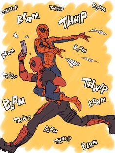 デプスパ漫画詰め [1] Spideypool Spiderman Deadpool Funny Cute