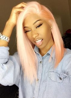 Light Pink, Click The Photo And Get This Poppin Hair From #Nadula, Can Be Dyed Freely!