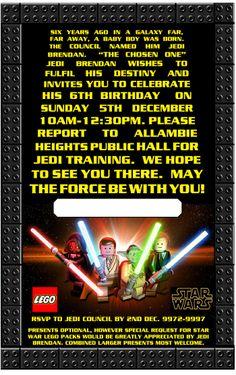 Lego Star Wars Birthday Invite