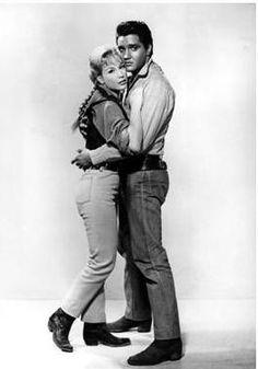 "Barbara Eden and Elvis Presley in ""Flaming Star""."