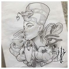 Nefertiti - Tattoo Thinks Tattoo Sketches, Tattoo Drawings, Body Art Tattoos, Art Sketches, Sleeve Tattoos, African Queen Tattoo, Nefertiti Tattoo, Ankh Tattoo, Africa Tattoos