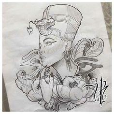 Nefertiti - Tattoo Thinks Tattoo Sketches, Tattoo Drawings, Body Art Tattoos, Sleeve Tattoos, Pretty Tattoos, Beautiful Tattoos, Nefertiti Tattoo, Cleopatra Tattoo, Ankh Tattoo