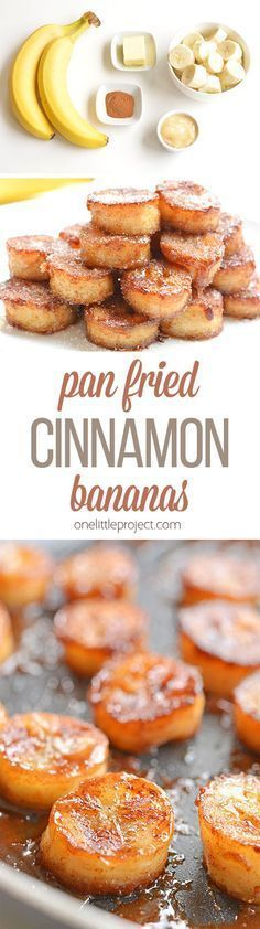 These pan fried cinnamon bananas are so easy to make and taste SO GOOD! They're amazing (seriously AMAZING) on ice cream or pancakes, or just as a snack. Soft and sweet on the inside and caramelized o (Banana Recipes Easy) Paleo Recipes, Sweet Recipes, Cooking Recipes, Fried Banana Recipes, Vegemite Recipes, Banana Recipes Easy, Baked Banana, Bariatric Recipes, Juice Recipes