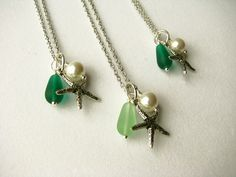 Green Bridesmaid Starfish Necklaces for a Beach Themed Wedding Jewelry Choice of colors Light Green or Emerald Kelly Green