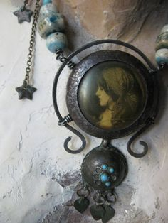 Ancient Evenings Rustic Gypsy Locket Altered Pocket by AnniesRags, $185.00