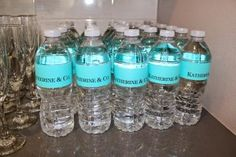 Breakfast at Tiffany's wedding shower diy custom water bottle labels. Tiffany & CO bridal shower decorations.
