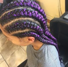 Purple braids are one of the many hairstyle trends that have become popular in recent years. Let's take a look at 35 stylish ways you can rock purple braids. Purple Braids, Black Girl Braids, Girls Braids, Purple Hair, Box Braids Hairstyles, Girl Hairstyles, Hairstyle Braid, Hairstyles Videos, Braid Hair