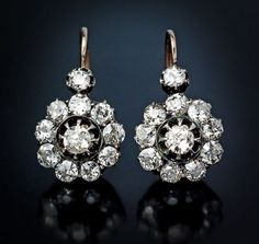 Antique and Vintage Diamond Jewelry Sale | Russian Cluster Earrings,  made in St Petersburg between 1908 and 1917