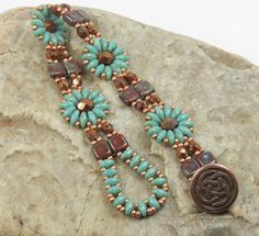 SUPERDUO CZECHMATE TILE Flower Bracelet-Persian Turquoise Picasso-Umber Picasso-Miyuki Seed Beads-TierraCast Celtic Button-Copper(SD133) by CinfulBeadCreations on Etsy