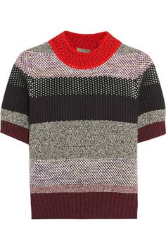 BOTTEGA VENETA Cropped Striped Cotton-Blend Sweater. #bottegaveneta #cloth #knitwear