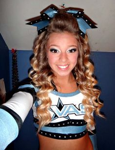 Cheerleader Hairstyles Simple Love This Half Up Half Down For Cheer Cheer Hair  Pinterest