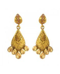 Designer Jadau Classic Polki Work Copper Drop Earring26