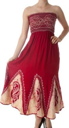 AA34 - Batik Print Embroidered Sleeveless Smocked Tube Top Long Dress ( Various Colors ) - Red/Cream/One Size,