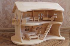 Купить Двухэтажный кукольный домик - кукольный домик, деревянные игрушки, деревянная игрушка, вальдорфская игрушка Wooden Toy Cars, Wooden Dolls, Wood Toys, Dollhouse Kits, Wooden Dollhouse, Dollhouse Furniture, Woodworking Plans, Woodworking Projects, Wooden Castle
