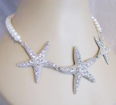 Items similar to Beach Themed destination wedding Necklace starfish necklace White Pearls Great Bridal Wedding Jewelry Bridal Wedding Jewelry Set on Etsy Beach Jewelry, Charm Jewelry, Wedding Jewelry, Pearl Necklace Wedding, Wedding Necklaces, Pearl Necklaces, Rhinestone Wedding, Crystal Earrings, Beach Theme Wedding Dresses