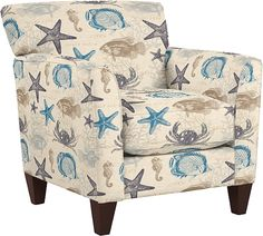 La-Z-Y Boy Upholstered Chairs, Ottomans and Sofas with Seashell Fabric: http://beachblissliving.com/upholstered-chairs-ottomans-la-z-boy/