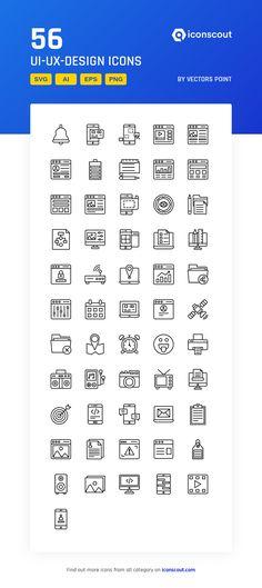 UI-UX-Design  Icon Pack - 56 Line Icons Ui Ux Design, Icon Design, Png Icons, More Icon, Icon Pack, Icon Font, Design Development, Fonts, Designer Fonts
