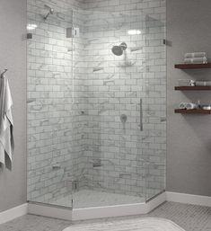 Glass Corner Shower, Corner Shower Doors, Framed Shower Door, Small Bathroom With Shower, Bathroom Shower Enclosures, Frameless Shower Doors, Glass Shower Doors, Glass Showers, Small Showers