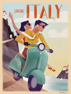 Retro vintage travel poster, Martin Wickstrom