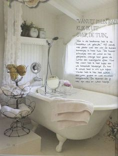 Dreamy bath. http://ShabbyChicScrapBook.com/kitchen-decor-ideas/Whitewashed Shabby Chic Bathroom.
