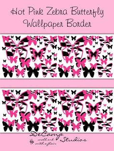 Hot Pink Zebra Animal Print Butterfly Wallpaper Border Wall Decals For Teen  Girls Bedroom Or Childrenu0027s