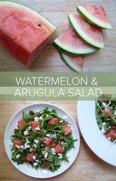 3 tablespoons extra-virgin olive oil 1 tablespoons freshly squeezed lemon juice 1 teaspoon honey 1 small shallot, minced salt and pepper to taste 6 cups baby arugula 3 cups diced seedless watermelon (from a 2 1/2 pound piece, rind discarded) 1/2 cup feta 1/3 cup chopped, toasted almonds