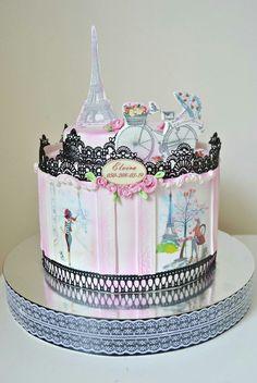 Paris theme cake Paris Birthday Cakes, Sweet Birthday Cake, Paris Themed Cakes, Paris Cakes, Birthday Cakes For Teens, Parisian Cake, Cake Designs For Kids, Chocolates, Quinceanera Cakes
