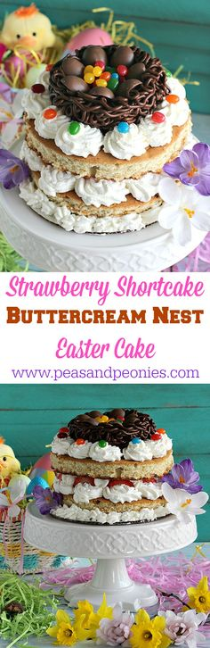 A stunning and easy Strawberry Shortcake Easter Nest Cake with layers of whipped cream, fresh strawberries and a chocolate buttercream nest. #EasterSweets #ad