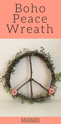 bohemian decor, 12 inch wreath, floral wreath, peace sign, rustic home decor, peace wreath, farmhouse shabby chic, boho peace wreath, boho decor, boho nursery decor #ad #affiliatelink