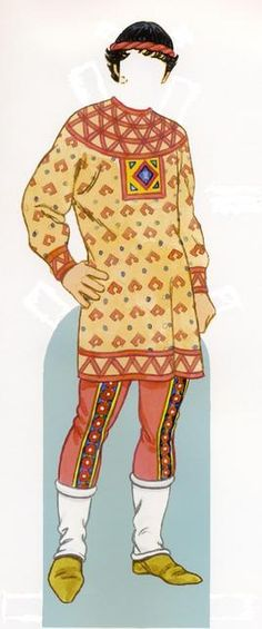 Eleventh-century Byzantine tradesman, wearing fitting bracca (trousers) decorated with embroided bands and tucked under the tops of his footless hose. His long-skirted juppe (shirt) is decorated with geometric-patterned appliqué made from the selvage edges of the pants fabric. (A common practice that utilised every scrap of costly fabric.)